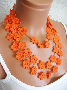 Items similar to Hand crochet lace necklace infinity orange necklace guipure scarf floral necklace romantic elegant wedding necklace or bracelet on Etsy wedding flowers Lace Bracelet, Lace Necklace, Floral Necklace, Crochet Necklace, Infinity Necklace, Collar Necklace, Crochet Collar, Hand Crochet, Crochet Lace