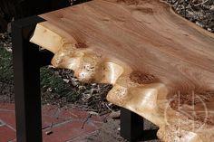 Custom Made Burled Siberian Elm Slab Bench With Steel Base