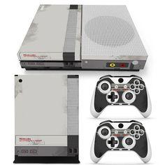 Xbox One S Console Skin Decal Sticker Old NES Retro + 2 Controller Design Set #ZoomHit