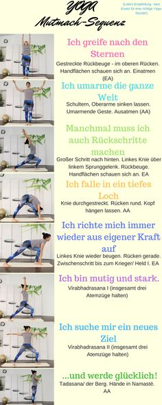Die YOGA Mutmach-Sequenz ⋆ Lotte Laib Small simple yoga exercise series with catchy affirmations. Strengthens stability and helps to center them. Iyengar Yoga, Ashtanga Yoga, Bikram Yoga, Yin Yoga, Yoga Fitness, Yoga Routine, Yoga Flow, Yoga Challenge, Yoga Sequences