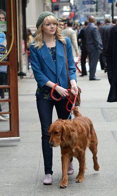 """Emma Stone (on set of """"The Amazing Spider-Man 2"""")"""