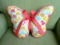 Butterfly Pillow Pastels and White by CecilClyde on Etsy, $40.00