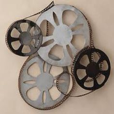 Film reel wall sculpture idea.