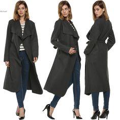 >> Click to Buy << Women's Dark Grey Wool Coats Winter Long Coat  New Design Cardigan X-Long  Coats Winter Spring Woman Clothing #Affiliate