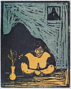 Edvard Munch  -  The Fat Whore [1889] Colour woodcut printed in black, green and yellow on beige medium thin wove.