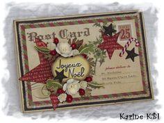"""En ce début de week-end, je viens vous montrer d'autres cartes réalisées avec le super kit de carterie de Noël """"Vintage"""" de ce mois de novembre de la boutique Cartoscrap ... qui, pour info, vient d'être ré-édité ... ;o) Le relief des étoiles en détails..."""