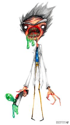 Rick (Rick & Morty) by Wednesday Wolf Free Base, Fine Art Paper, Unique Art, Wolf, Original Paintings, Ink, Drawings, Prints, Artist