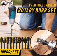 Here is a perfect tool kit for polishing metalwork and woodcraft with SMOOTHEST finish. This Rotary Burr Set includes 10 rotary drill bits with ball, oval, cyl Metal Welding, Welding Rods, Diy Welding, Garage Tools, Carving Tools, Welding Projects, Diy Projects, Knife Making, Diy Tools