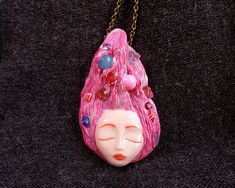Goddess Of Joy, Pink Goddess Necklace, Goddess Of Innocence, Playful necklace, Quartz Goddess, Goddess Gifts, Pink jewelry Gift, Art Goddess  $45.00  The goddess of joy and happiness is present whenever people choose to put their differences aside and see the beauty that connects us all.   If you doubt her innocence, her understanding gaze, her stunning beauty and effervescent joy simply look into the smile of anyone happy, and you'll see her as well.  Its perfect wearer is someone sweet… Pink Jewelry, Clay Jewelry, Jewelry Gifts, Jewelry Accessories, Jewellery, Pagan Jewelry, Fantasy Jewelry, Diy Fimo, Polymer Clay