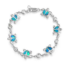 Kids Nautical Sea Turtle Heart Hawaiian Blue Opal Bracelet CZ Silver