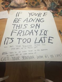 My yearbook sales poster
