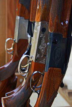 Shotguns leaning in the gun rack at the Trap Range. Ojai Valley Gun Club in Rose Valley.