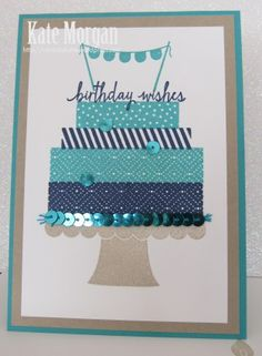 Build a Birthday Stampin Up!. Gorgeous colour combo of Night of Navy, Crumb Cake and Bermuda Bay. Love the sequin trim!