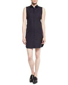 3.1 PHILLIP LIM Sleeveless Poplin Shirtdress, Phantom Blue. #3.1philliplim #cloth #