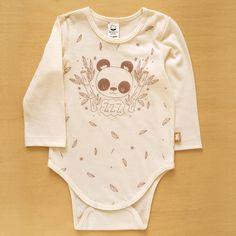 Body Panda visón. Algodón 100% orgánico. Talles recién nacido, 0 a 3 meses y 3 a 6 meses.