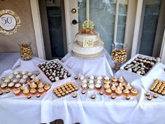 50th wedding anniversary dessert table.