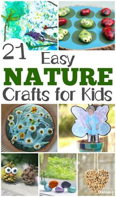 Share some outdoor crafting fun with this list of 21 easy nature crafts for kids to make! #crafts #kidscraft #craftsforkids #nature #kidsactivities #homeschooling #homeschool