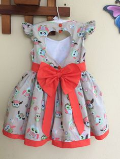 Vestido Corujinhas Little Girl Outfits, Little Girl Dresses, Toddler Outfits, Kids Outfits, Vestidos Country, Country Dresses, Fashion Kids, Baby Girl Dresses, Cute Dresses