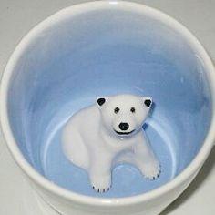 Polar Bear Surprise Mug by SpademanPottery on Etsy https://www.etsy.com/listing/179184640/polar-bear-surprise-mug