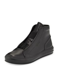 Ground Buckle-Front Calfskin High-Top Sneaker, Black by Salvatore Ferragamo at Neiman Marcus.