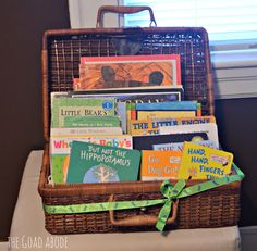 Basket of books. This is SUCH a great idea for a baby shower gift!