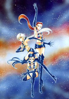 "Sailor Starlights and the Three Lights : 美少女戦士セーラームーン原画集 Bishoujo Senshi Sailor Moon Original Picture Collection vol.5 ""The Sailor Starlights were supposed to have even more minor roles than the akuma. So when it looked like they were gonna get leading roles in the anime, I was totally surprised! Even more surprising, before transforming into Sailor Senshi they were men?! I was really shocked to learn that."" by Naoko Takeuchi - 1996 Nakayosi June front matter"