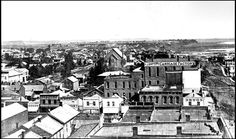 The very first library, in 1872, was on a top floor of the Simpson Carriage Factory. This photo shows early Omaha looking north from 14th and Farnam Streets. Via The World-Herald Archives. #Omaha