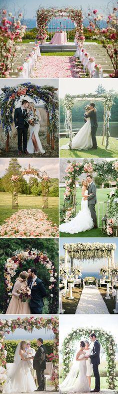 Ideias para decoração de arco para cerimônia de casamento ao ar livre