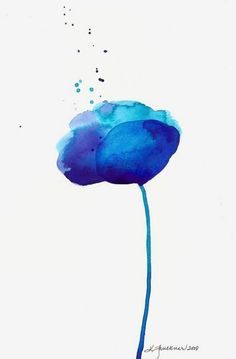 Watercolor art print of an abstract blue flower