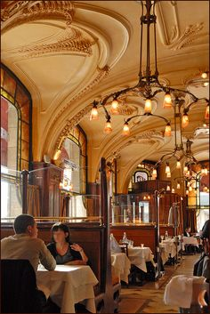 Brasserie Excelsior Nancy France.  Dining in a pure Art Nouveau cafe....in the city where Art Nouveau began.