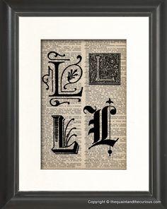 Vintage Letter L Personalized Monogram Initial by QuaintandCurious, $12.00