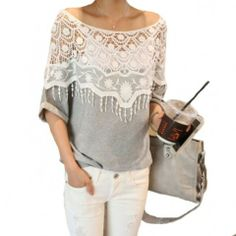 Elegant Loose Fitting Floral Cutout Fringed Lace Spliced T-shirt