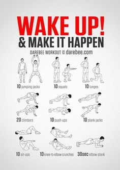 No-equipment body-weight workout for starting your morning on a high. Infamous Wake Up & Make it Happen workout. Visual guide: print & use. Online Fitness& The post Online Fitness and Mobile Apps appeared first on Shane Carlson Fitness. Wake Up Workout, Morning Workout Routine, Home Workout Men, Workout Routine For Men, Gym Workout Tips, At Home Workout Plan, Workout For Beginners, Workout Challenge, Fun Workouts