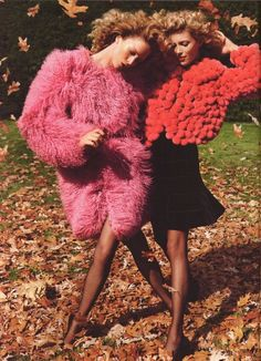 Raquel Zimmerman (left) wearing a Peter Som coat. Vogue Magazine.