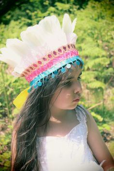 Boho Feather Crown Headdress  Pink Blue by FriolinaFancyDesigns, $27.00