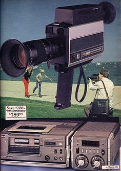 Portable video cassette player with video sound camera