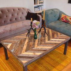 Chevron Reclaimed Pallet Barn Wood Coffee Table - Gemini