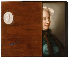 Jean-Etienne Liotard, Trompe-l'oeil with a Partial Portrait of Maria Theresa of Austria, 1762–63. Oil on panel. 36.2 x 43.4 cm. Private Collection Photo Private collection Exhibition organised by the Royal Academy of Arts, London, and the National Galleries of Scotland.