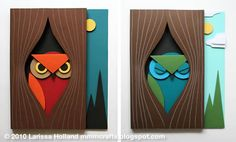handmade cards ... 3D Paper Owl from mmmcrafts | Skip To My Lou ... mod look ... bright colors ... like punch art ... tutorial on site ...