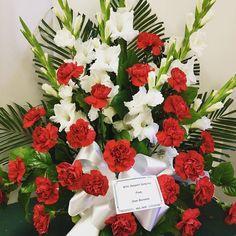 #tribute #redandwhite. #red carnations #gladioli