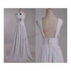 White Long Bridesmaid Dresses Formal Prom Dresses Simple Party Dresses... ($96) ❤ liked on Polyvore