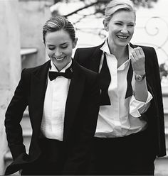 Wmen in suits - Kate Blanchett and Emily Blunt by Lindberg