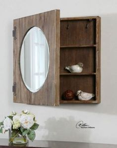 Round Medicine Cabinet 1 Large 24u0026quot Aged Wood Mirror Bathroom