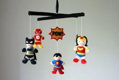 Super Hero Baby Mobile  Superhero  Baby by SweetDreamsBabyShop, $81.00