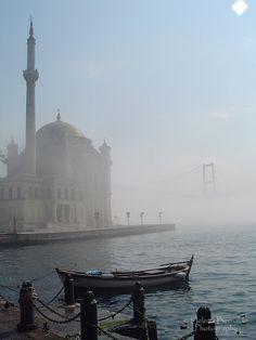 Ortakoy Mosque with fog in Bosphorus, Istanbul, Turkey