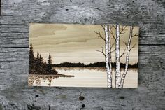 Lakeside Birch Trees Art Wood burning by TwigsandBlossoms