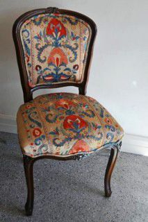 Stepping Stones Collections | Unique Pieces Gorgeous French Oak Boudoir Chair Covered in a hand embroidered silk Suzani from Uzbekistan. Similar available from www.steppingstonescollections.com.au