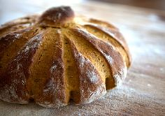 """Pumpkin Yeast Bread. """"Is that not just the cutest loaf of bread you've ever set eyes on? I know, right? Not only is this loaf shaped like a pumpkin, but it tastes like one, too.""""  from thefloursack.blogspot.com"""
