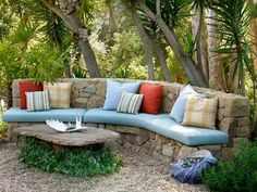 Beautiful Garden with Stone Bench and Table Cushions and Gravel