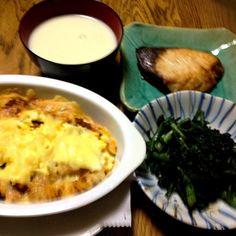 ミートソースグラタン ブリ塩焼き 春菊の黒胡麻和え ジャガイモのポタージュ - 15件のもぐもぐ - ミートソースグラタン by madammay